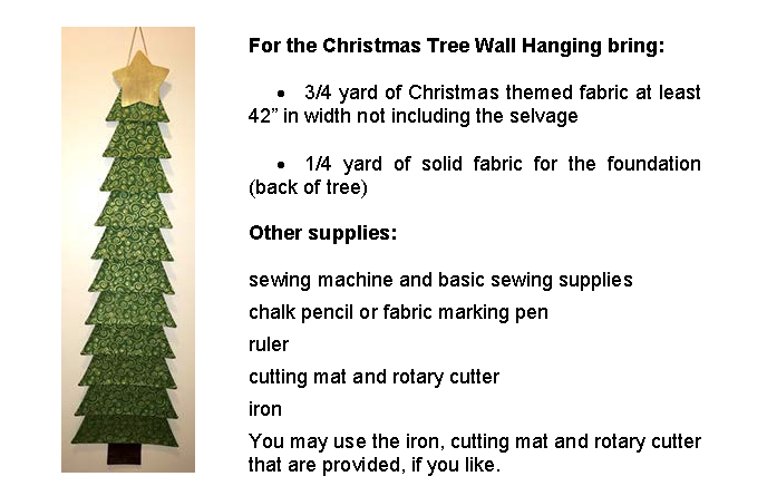 Christmas Tree Wall Hanging Workshop Details